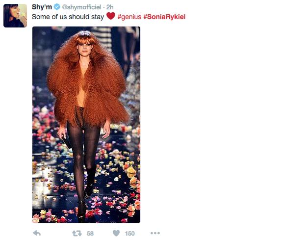 Shy'm rend hommage à Sonia Rykiel