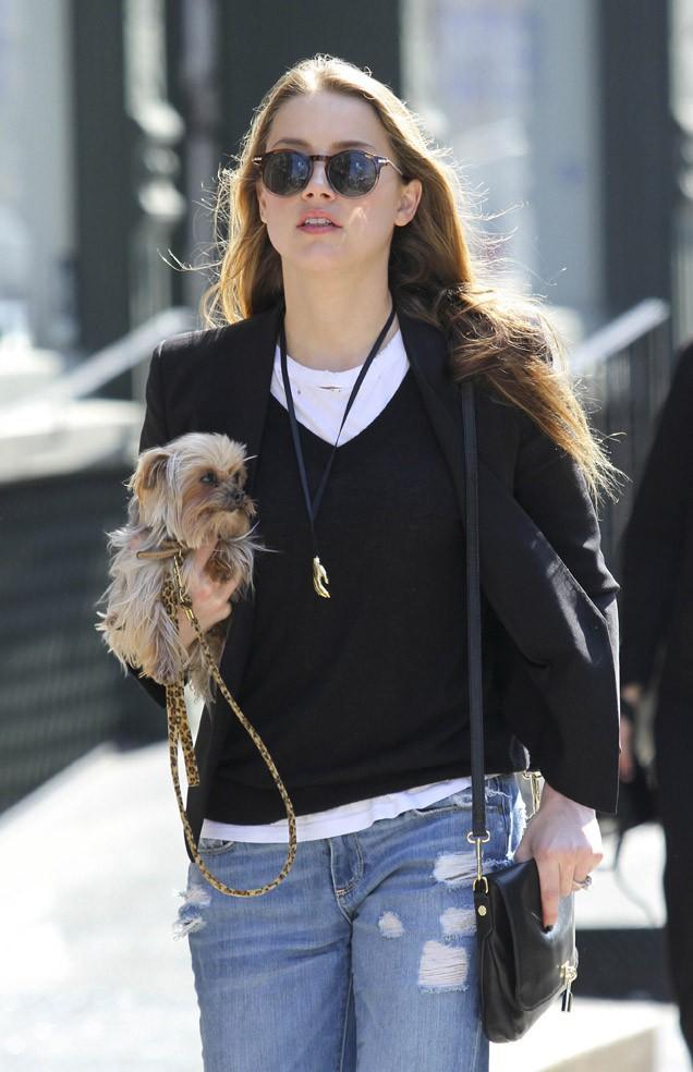 Amber Heard à New-York le 13 avril 2014