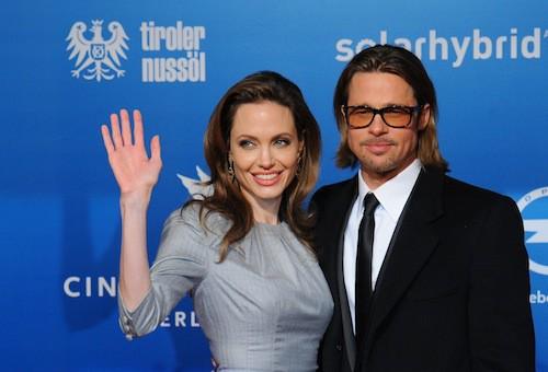 Brad Pitt et Angelina Jolie en février 2012 lors d'une soirée caritative