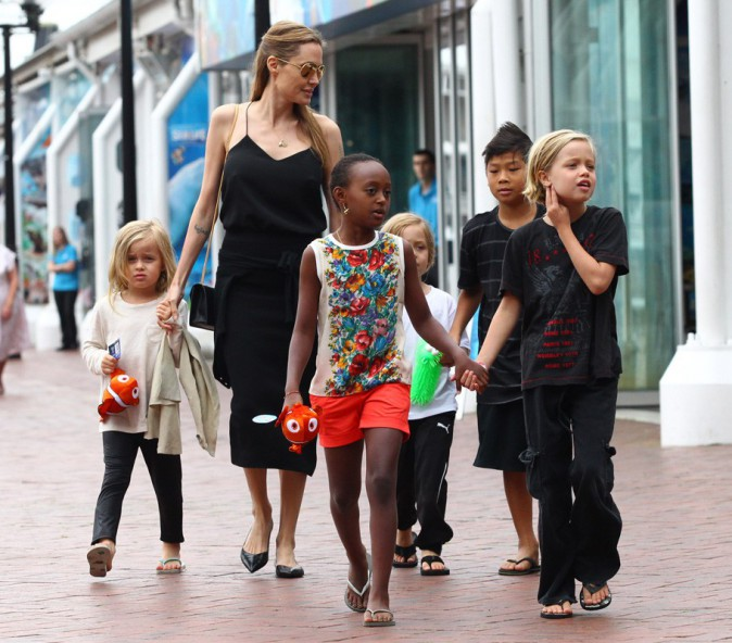 Angelina Jolie emmène sa tribu à l'aquarium de Sydney
