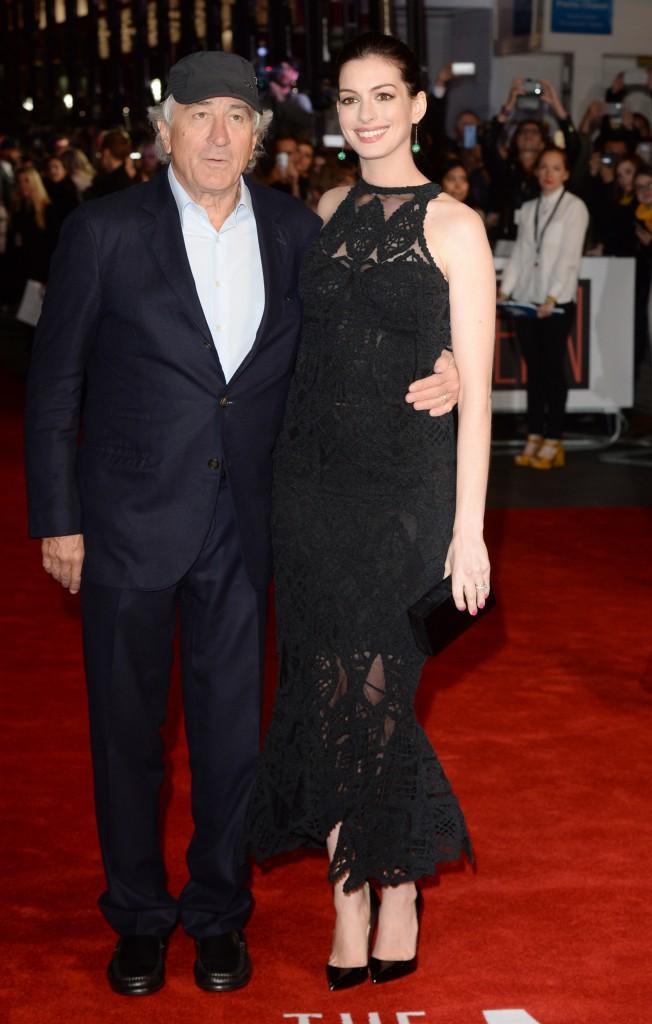 Anne Hathaway et Robert De Niro à Londres le 27 septembre 2015