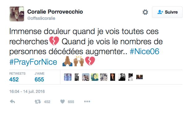 Le message de Coralie Porrovechio