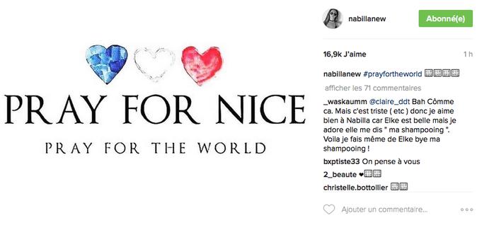 Le post de Nabilla Benattia