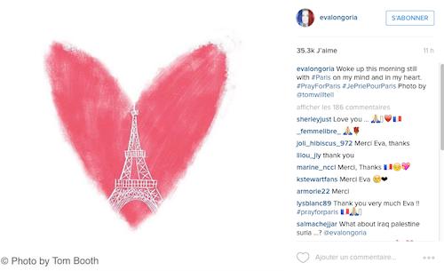 Photos : Attentats de Paris : Coldplay, Eva Longoria, Emma Stone… Ils continuent de soutenir la France