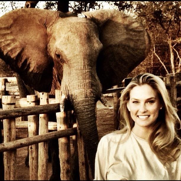 Posant fièrement devant un éléphant