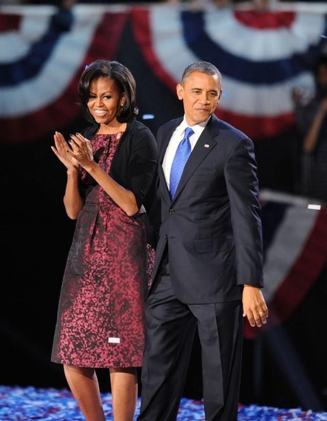 Barack Obama fête sa réélection à la tête de la Maison Blanche à Chicago le 6 novembre 2012