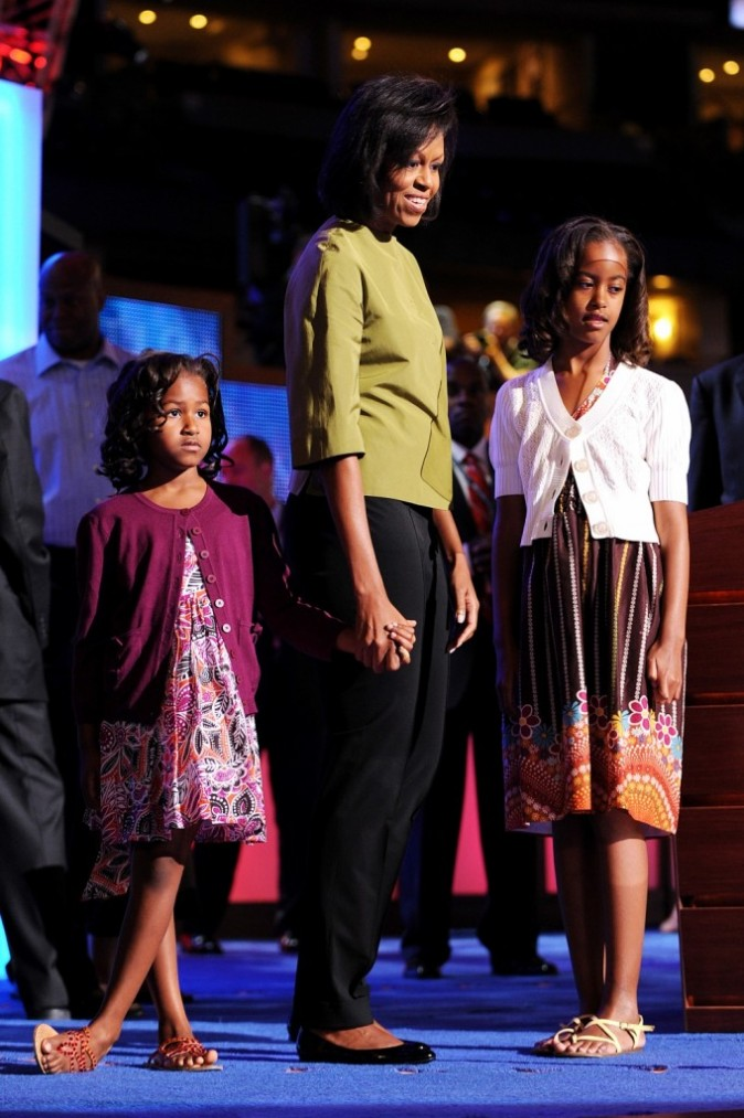 Michelle Obama et ses filles en 2008