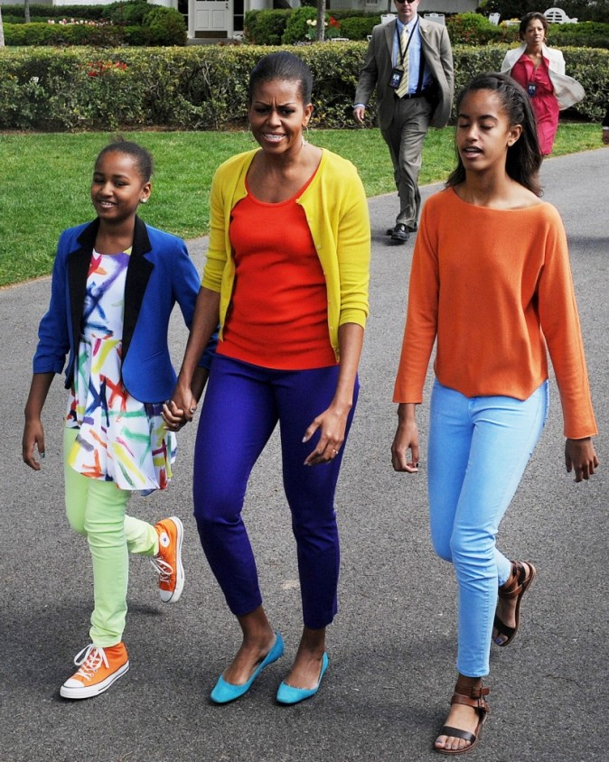 Michelle Obama et ses filles en 2012