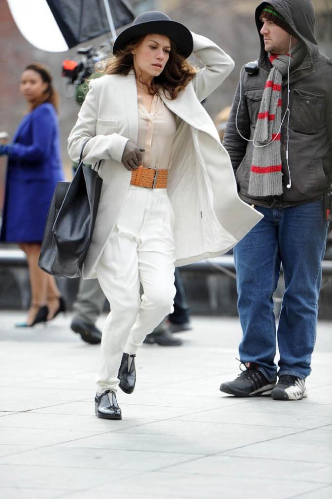 Bethany Joy Lenz sur le tournage du pilote de Songbyrd à New-York le 20 janvier 2014