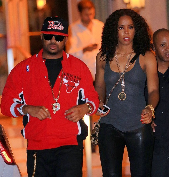 The Dream et Kelly Rowland sortant du restaurant Soho Beach Club à Miami, le 9 décembre 2012.