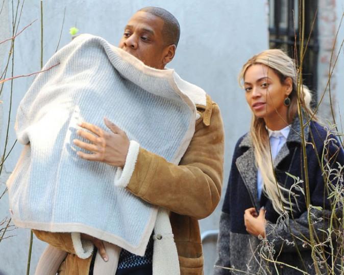 Beyoncé, Jay-Z et Blue Ivy dans le quartier de Brooklyn, à New-York, le 19 janvier 2014