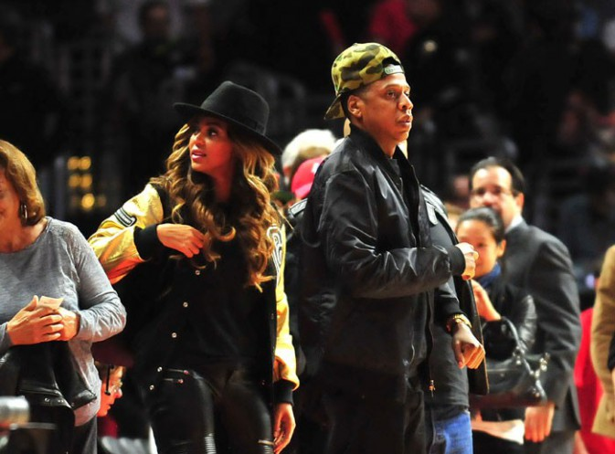 Beyoncé et Jay-Z au Staples Center de Los Angeles le 16 janvier 2015