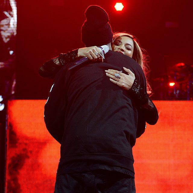 Beyoncé et Jay-Z lors de la soirée DirecTV Super Saturday Night, le 1er février 2014.