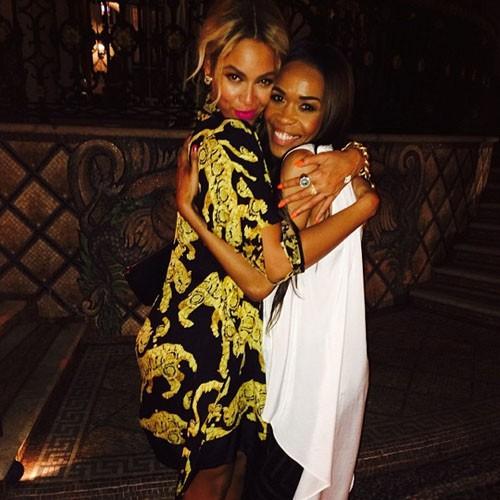 Beyoncé et Michelle Williams lors de la CIROC party de P. Diddy à Miami, le 31 décembre 2013.