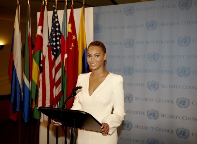 Beyoncé le 10 août 2012 à L'ONU, à New York