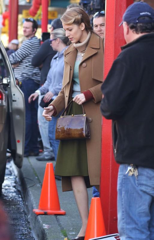 """Blake Lively sur le tournage de """"The Age of Adaline"""" à Vancouver, le 28 avril 2014."""