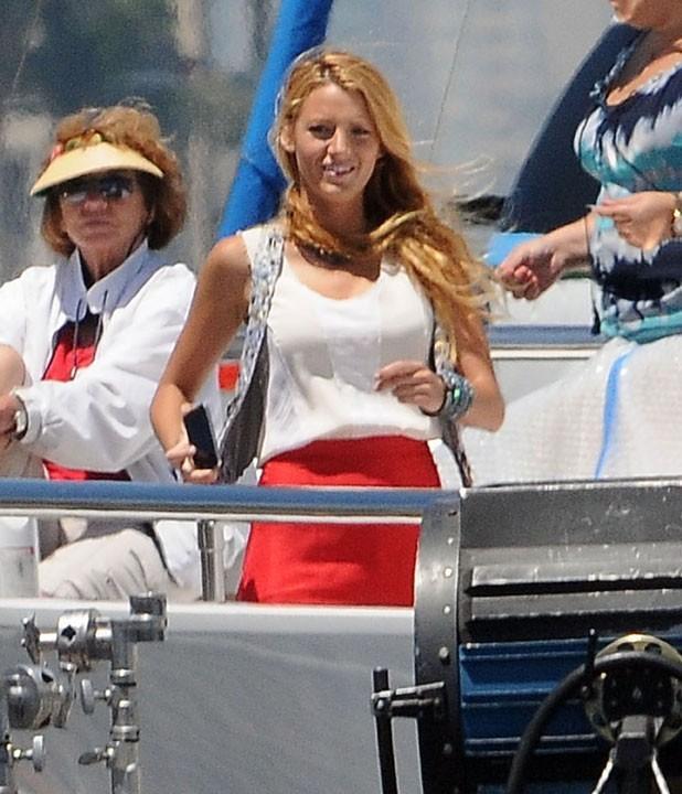 Blake Lively sur le tournage de Gossip Girl à Los Angeles, le 3 août 2011.
