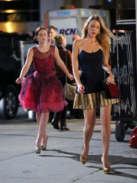 Blake Lively et Leighton Meester sur le tournage de Gossip Girl à New York, le 2 août 2012.