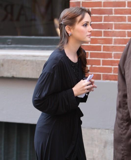 Leighton Meester sur le plateau de tournage de Gossip Girl, le 1er février 2012.