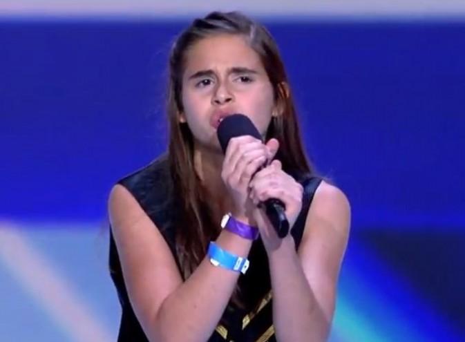 Carly Rose Sonenclar, 13 ans, sur le plateau du X Factor US