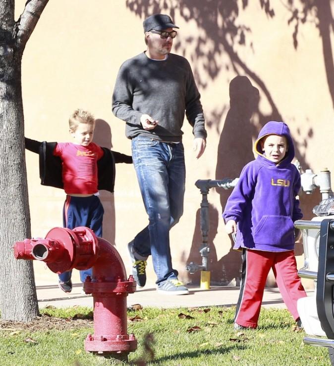 Preston et Jayden, les fils de Britney Spears, ainsi que Jason Trawick, à Thousand Oaks, le 27 décembre 2012.