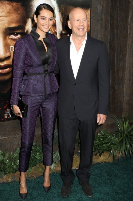 "Bruce Willis et sa femme Emma Heming lors de la première du film ""After Earth"" à New York, le 29 mai 2013."