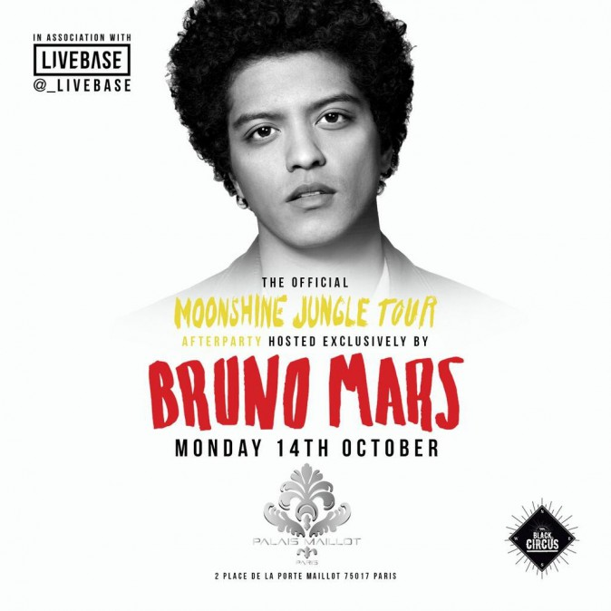 After-party de Bruno Mars au Palais Maillot à Paris, le 14 octobre 2013.