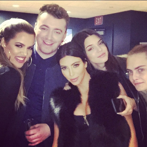 Kim, Khloe, Kendall, Cara Delevingne et Sam Smith le 29 janvier 2015