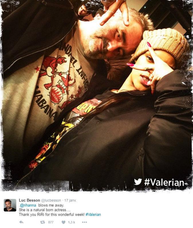 Luc Besson et Rihanna au mois de janvier 2016 sur le tournage de Valérian