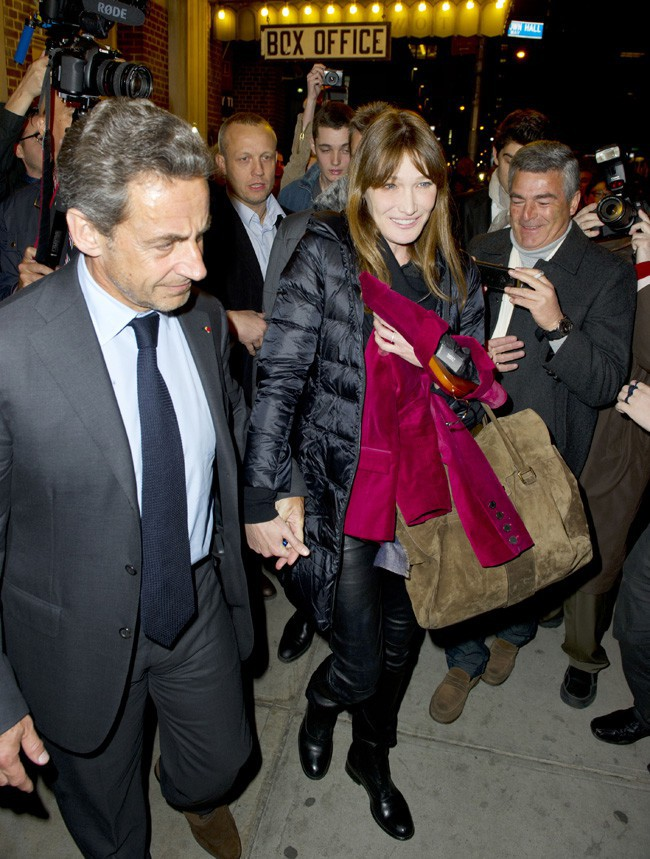 Carla Bruni-Sarkozy et Nicolas Sarkozy à New-York le 24 avril 2014