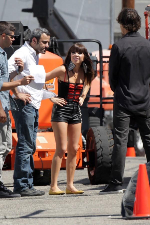 Carly Rae Jepsen sur le tournage de son nouveau clip à Los Angeles le 19 septembre 2012