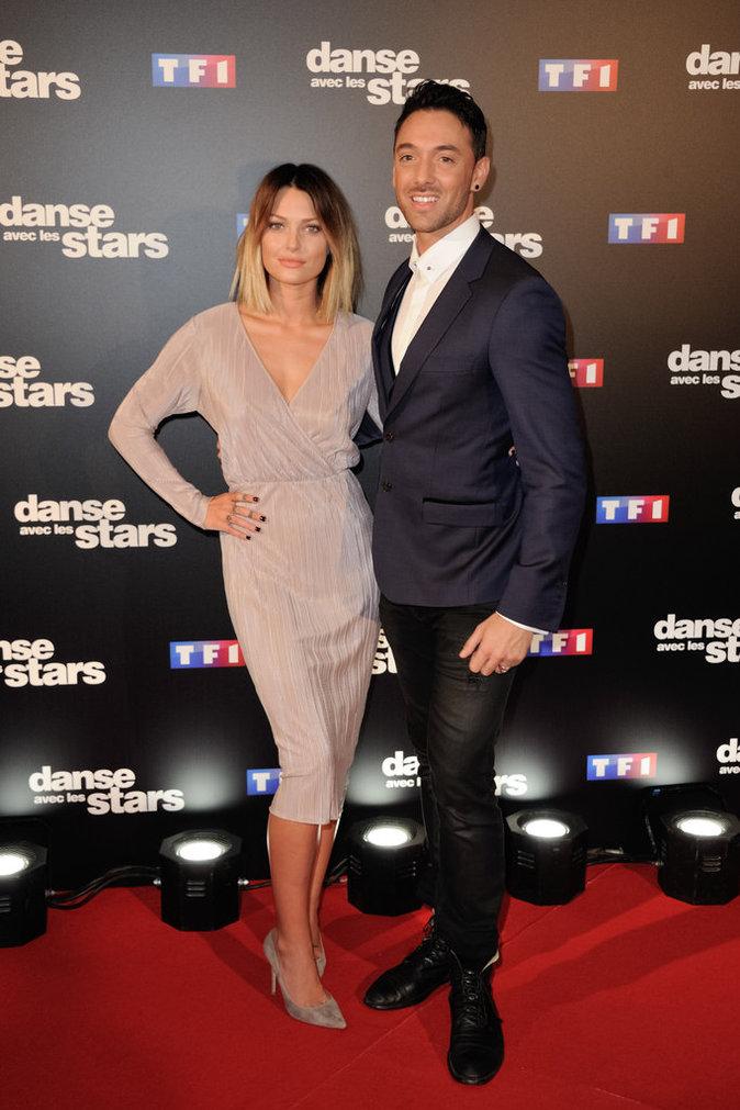 Caroline Receveur et son partenaire, Maxime Dereymez au photocall de DALS 7