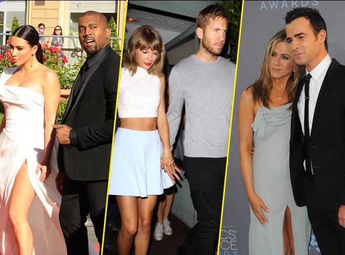 Kim et Kanye West, Taylor Swift et Calvin Harris, Jennifer Aniston et Justin Theroux