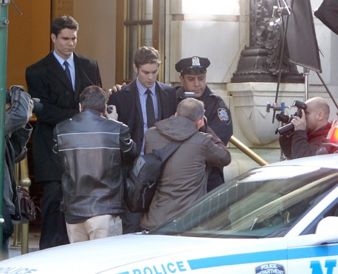Chace Crawford sur le tournage de Gossip Girl à New-York le 1 er octobre 2012