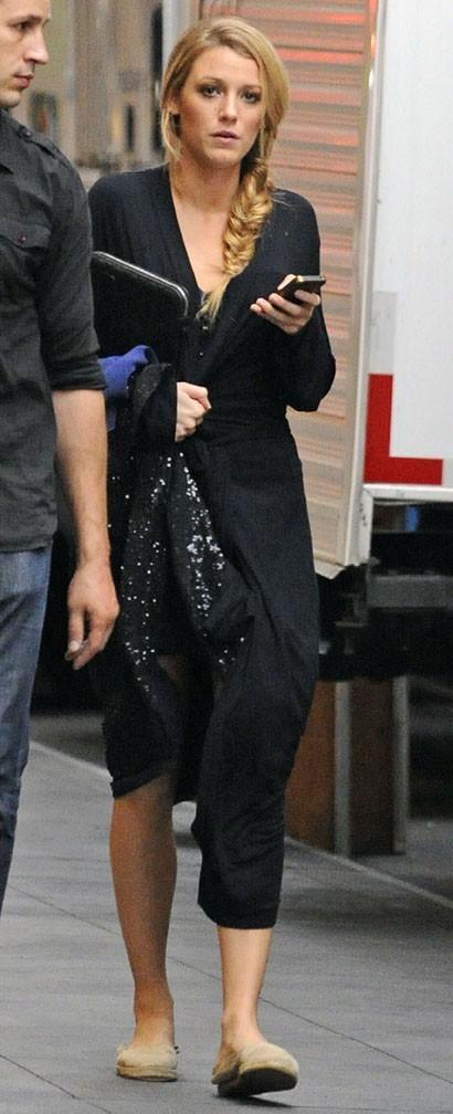 Blake Lively sur le tournage de Gossip Girl à New-York le 21 août 2012