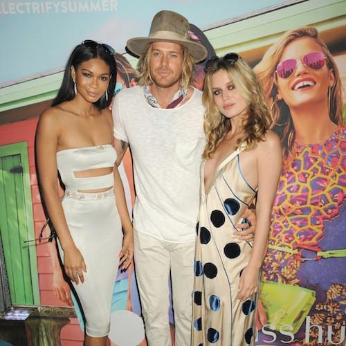 Nick Fouquet avec Chanel Imna et Georgia May Jagger à New York le 18 juin 2015 !