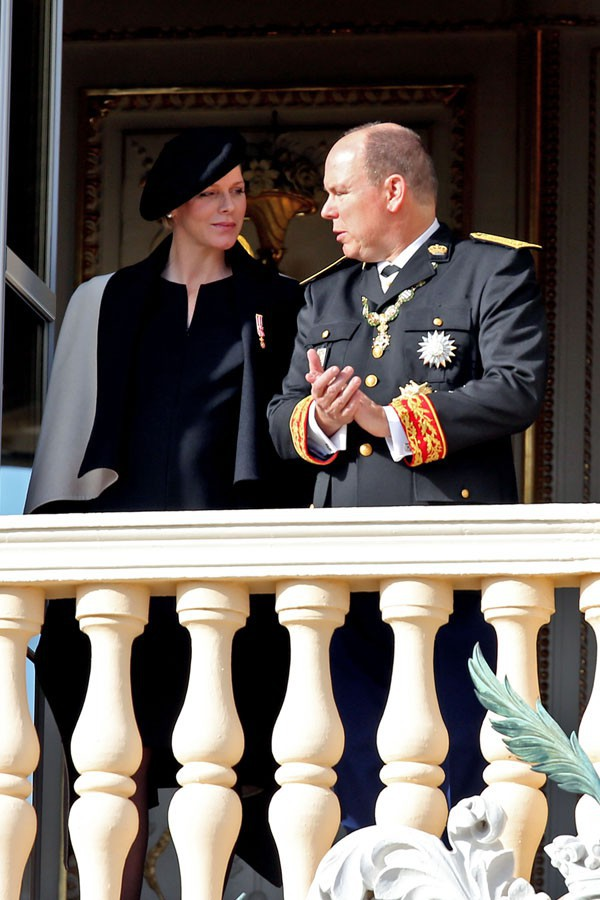 Charlène et Albert de Monaco lors de la célébration de la fête nationale le 19 novembre 2014