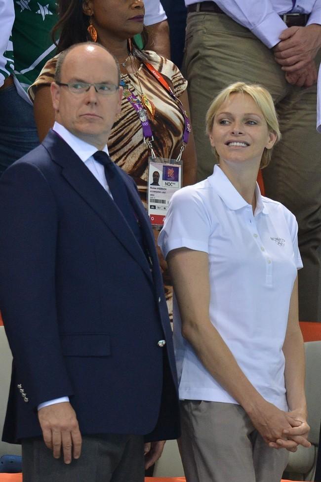 Charlene et Albert de Monaco le 29 juillet 2012 aux Jeux Olympiques de Londres
