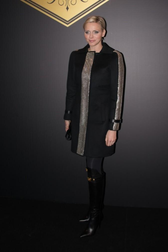 Charlène de Monaco lors du défilé Versace Haute Couture à Paris, le 20 janvier 2013.