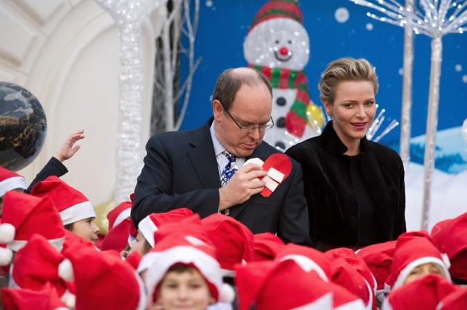 Charlène et Albert de Monaco au Palais Grimaldi de Monaco le 18 décembre 2013
