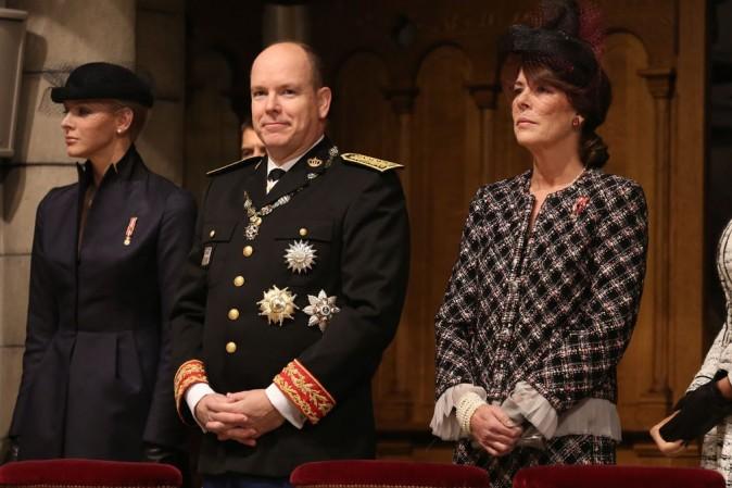 Charlène, Albert et Stéphanie de Monaco célèbrent la fête nationale monégasque le 18 novembre 2012