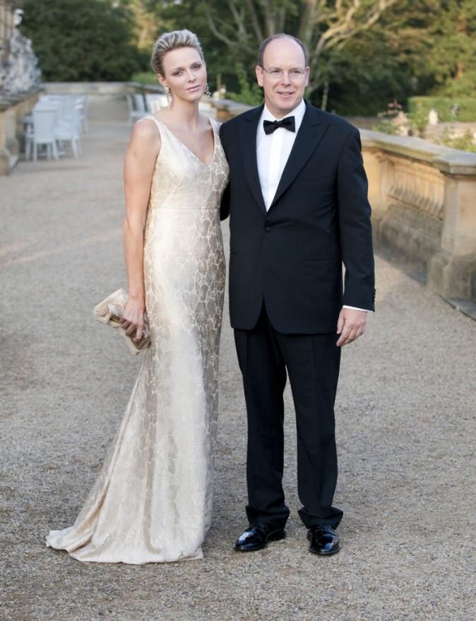 Charlène Wittstock et Albert de Monaco lors du 50e anniversaire du Variety Club à Leeds, le 4 septembre 2011.