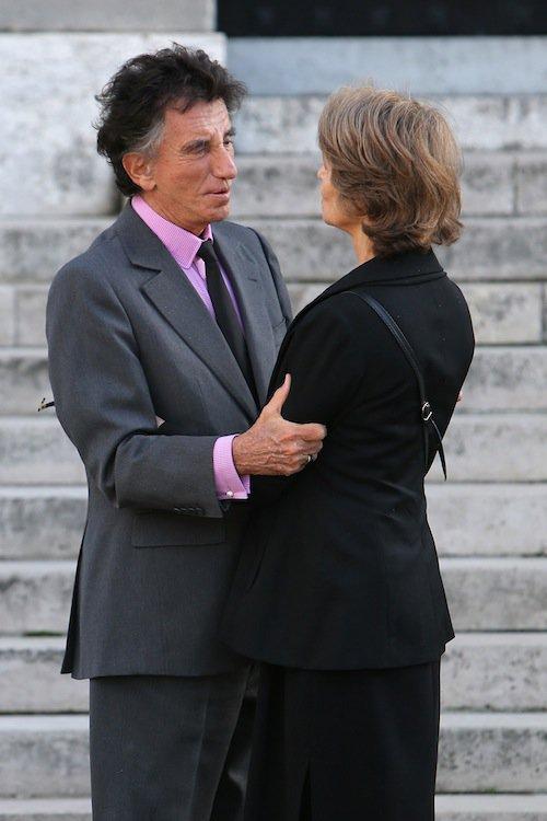 Jack Lang et Charlotte Rampling aux obsèques de Jean-Noël Tassez à Paris, le 9 octobre 2015