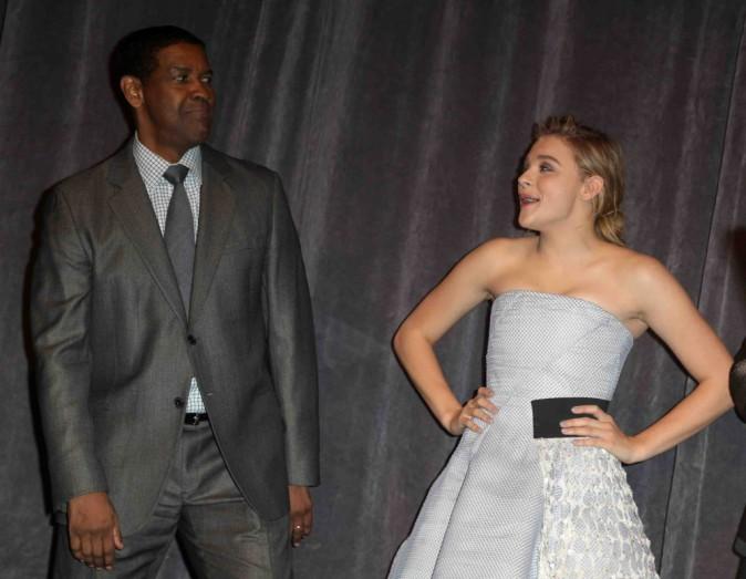 """Chloé Moretz : ravissante et complice avec Denzel Washington pour la première de """"The Equalizer"""" !"""