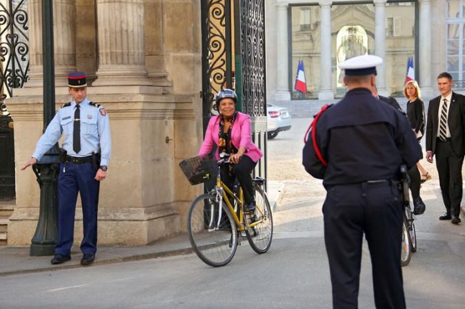 Christiane Taubira à la sortie de l'Elysée le 13 mars 2014