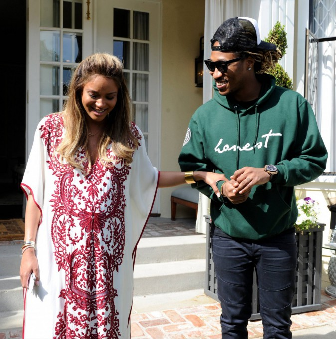 Ciara et son fiancé Future lors de sa baby shower à West Hollywood, le 22 mars 2014.