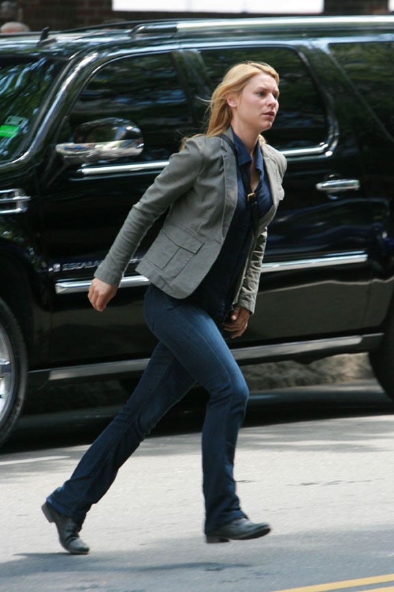 Claire Danes sur le tournage d'Homelannd à Charlotte le 10 juillet 2013
