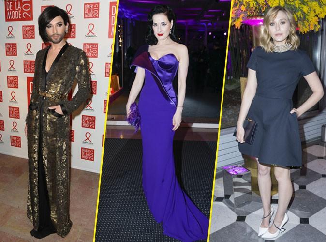 "Photos : Conchita Wurst, Dita Von Teese, Elizabeth Olsen… : à Paris, elles disent ""stop"" au sida !"