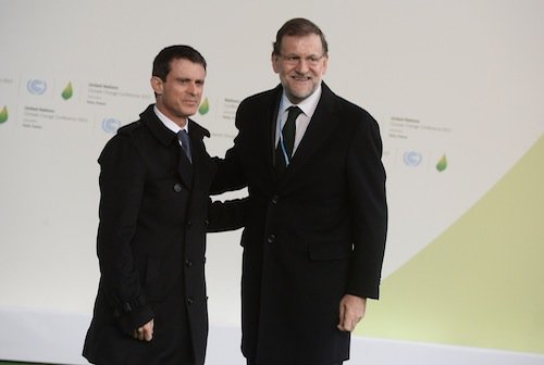 Manuel Valls et Mariano Rajoy (Espagne)à)