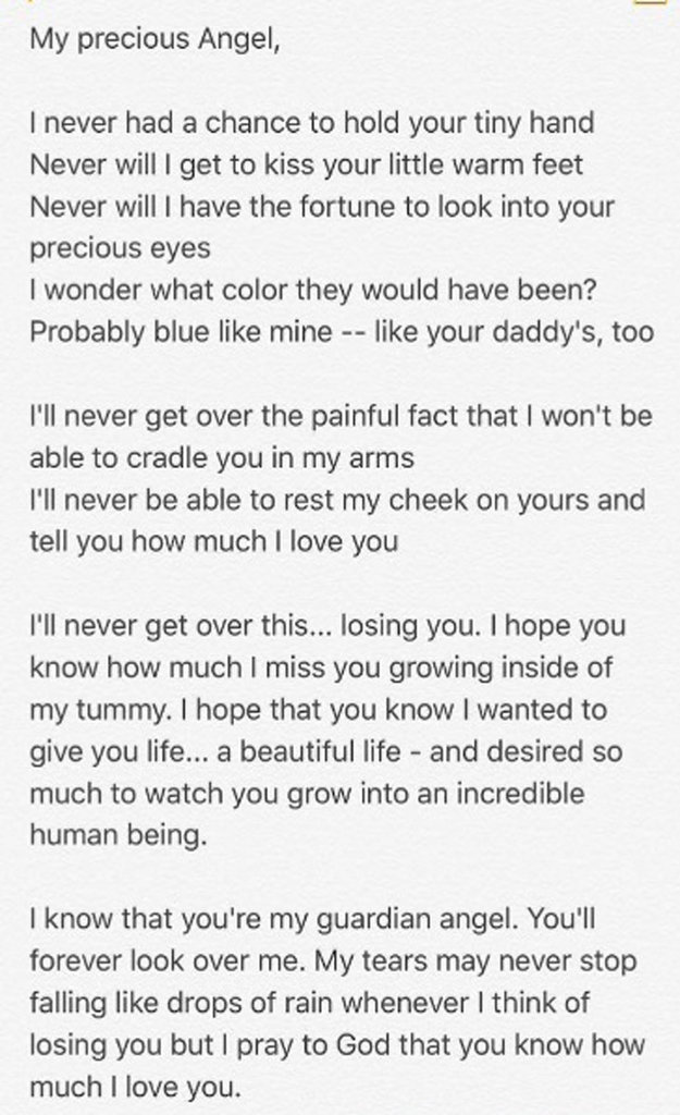 La lettre de Courtney Stodden à son bébé